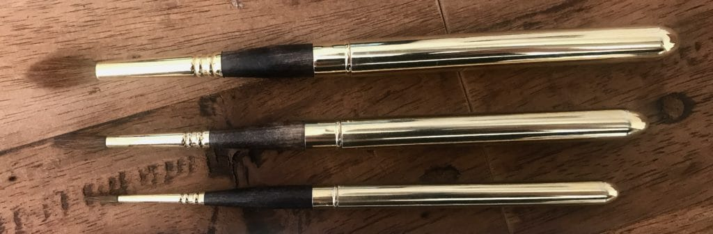 Escoda Reserva Watercolour Travel Brushes (from the top) size #10, size #6, size #2