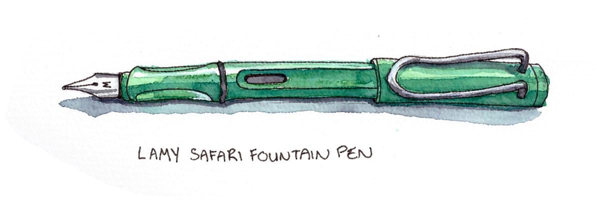 Lamy Safari fountain pen illustration by Taria