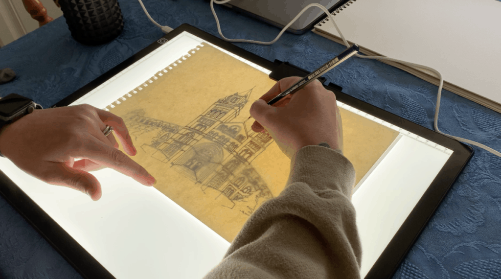 Using a lightbox for watercolour painting